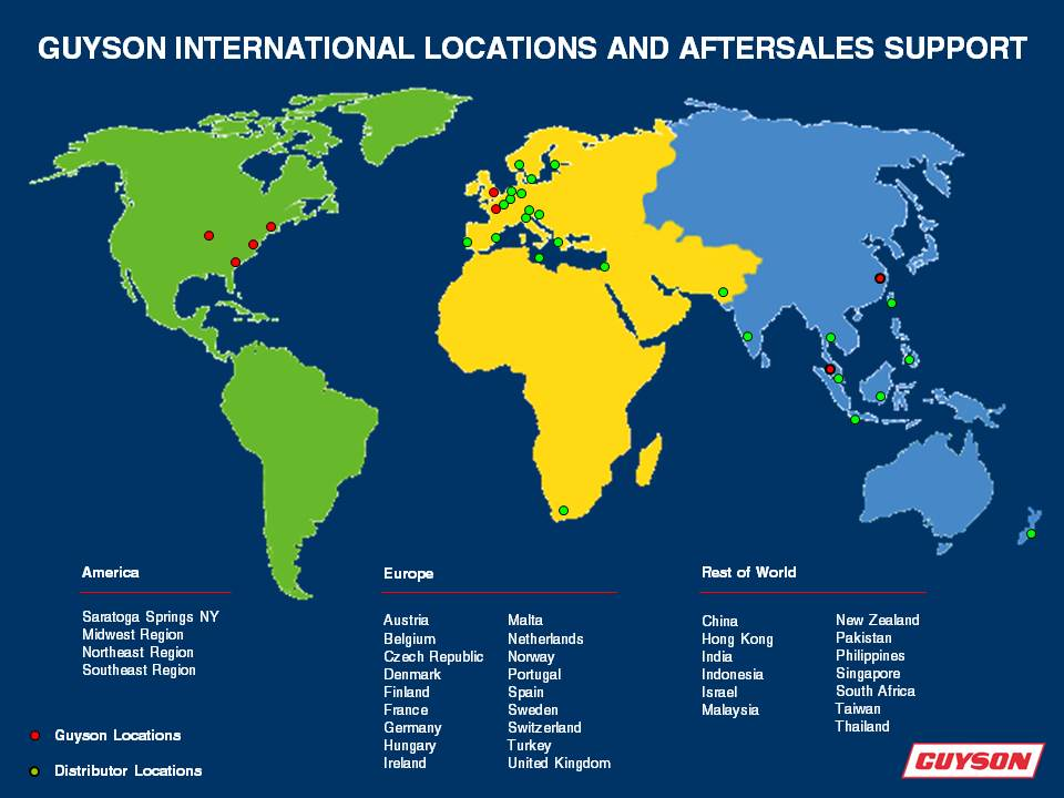 Guyson International locations and aftersales support